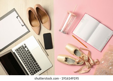 Flat lay composition with business items and art accessories on color background. Concept of balance between work and life