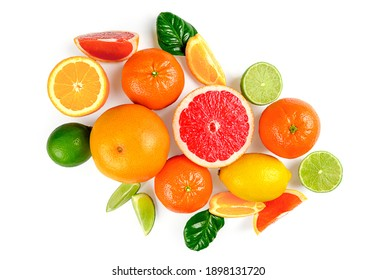 Flat lay composition with citrus fruits, leaves and flowers on white background. High quality photo