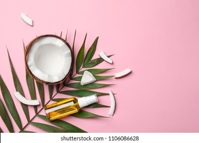 Flat lay composition with coconut oil on color background. Healthy cooking