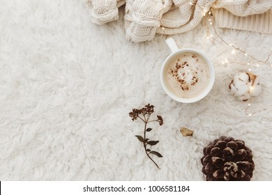 Flat lay composition with cup of coffee. Cozy scene