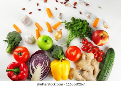 Flat lay composition with diet food on white background