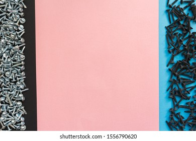 Flat Lay Composition With Different Screws on Black, Pink and Blue Background. Top View of Checklist Concept