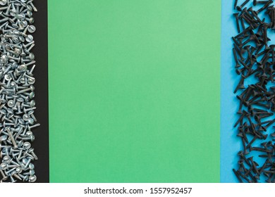 Flat Lay Composition With Different Screws on Black, Green and Blue Background. Top View of Checklist Concept