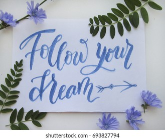 Flat lay composition with modern brush calligraphy of Follow your dream and chicory flowers on white background for poster, postcard, banner