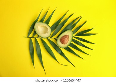 Flat lay composition with ripe avocado and tropical leaf on color background