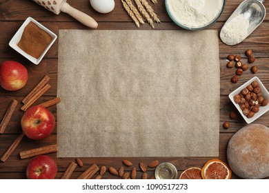 Flat lay composition with rye dough and ingredients on wooden background