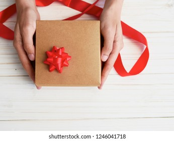 flat lay composition space of gift festival concept