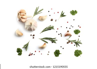 Flat lay composition with spices and herbs on white background
