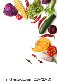 Flat lay composition with various vegetables on white background
