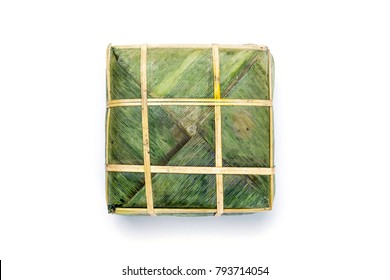Flat Lay Cooked square glutinous rice cake / Chung cake . Vietnamese new year food