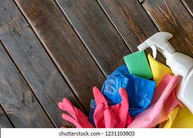 flat lay copy space with home cleaning supplies