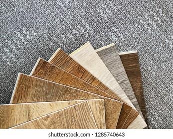 flat lay copy space over Luxury vinyl flooring for floor tiles design idea choosing