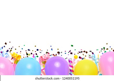 Flat lay decoration party concept with colorful balloon on white background. Top view. Birthday or party greeting card with copy space.