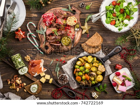 flat lay delicious christmas themed dinner stock photo edit now