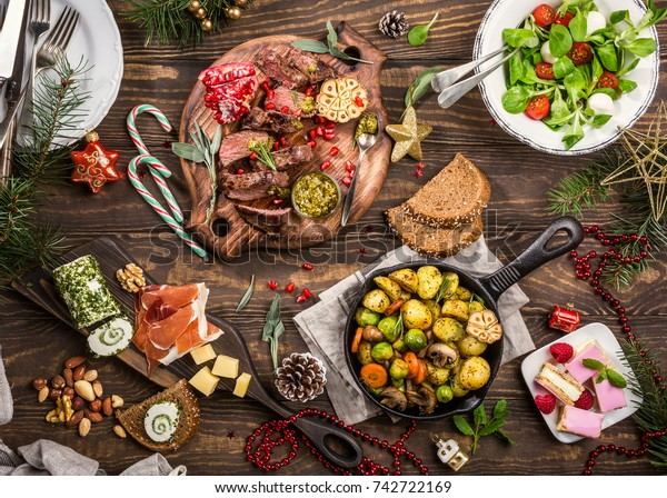 Flat Lay Delicious Christmas Themed Dinner Stock Photo Edit