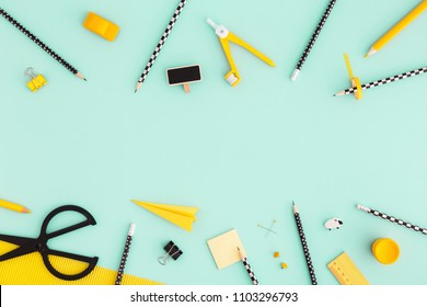 Flat lay design. Variety of school supplies. Back to school concept.