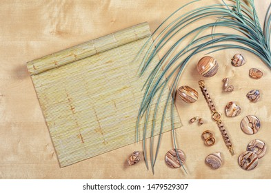 Flat lay different picture jasper items on wooden background with palm leaf and bamboo sushi rolling mat. Top view semi-precious stone jewelry concept.