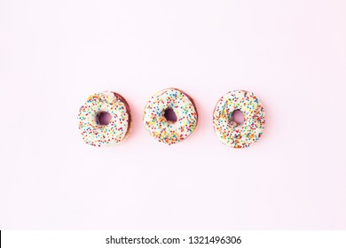 Flat lay donuts. Top view