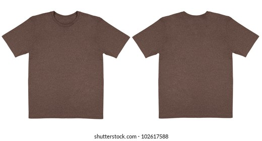 Flat Lay Down Isolated Image of T-Shirt Front and Back View in Brown Heather