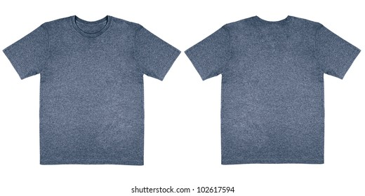 Flat Lay Down Isolated Image of T-Shirt Front and Back View in Denim Blue Heather