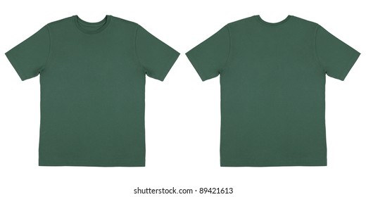 Flat Lay Down Isolated Image of T-Shirt Front and Back View
