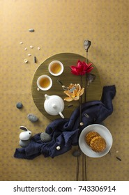 Flat lay east asian cultural mid autumn festival food and drink still life.