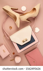 Flat lay with Elegant woman accessories; hand bag and high heel shoes. Female urban fashion, shopping, gfit ideas, style concept