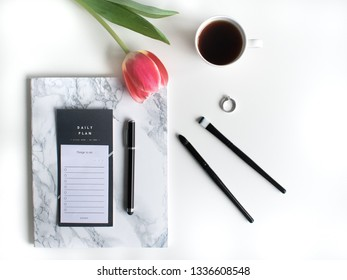 flat lay with flowers and petal; morning coffee, reading, writing and devotional time