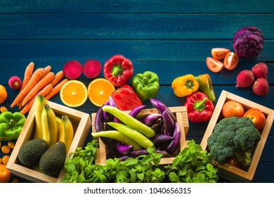 Flat lay of fresh  fruits and vegetables for background, Different fruits and vegetables for eating healthy