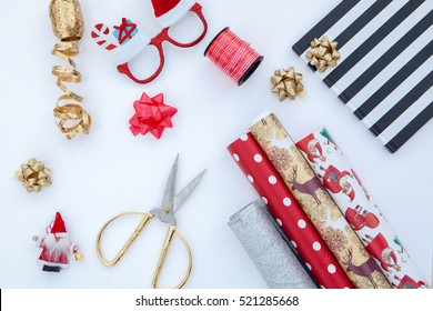 flat lay gift box and christmas decorations.wrapping for christmas.white background