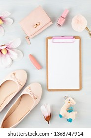 Flat lay with girls spring summer accessories in pink pastel tones. Casual urban summer style, shopping concept