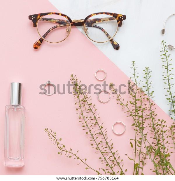 Flat Lay Girls Stuff Like Rings Stock Photo (Edit Now) 756785164