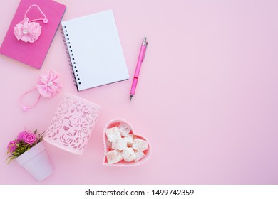 Flat lay girly, pale pink items for planning, notepads, pens, office work or working at home on her laptop, on the pale pink background, with place for labels. Concept Desk.