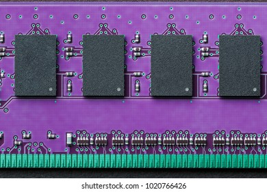 Flat lay graphic still life close-up of DIMM RAM computer memory chip module. Horizontal electronics technology icon background image with bright, saturated ultra violet ultraviolet and green colors.