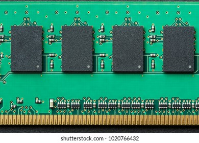Flat lay graphic still life close-up of DIMM RAM computer memory chip module. Horizontal electronics technology icon background image with bright, saturated green and gold colors.