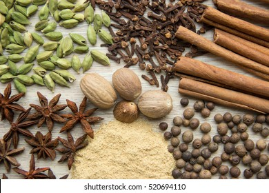 Flat Lay herbs and spices for mulled wine. Clove, cinnamon, star anise, allspice, nutmeg, cardamom, ginger, east, indian pepper