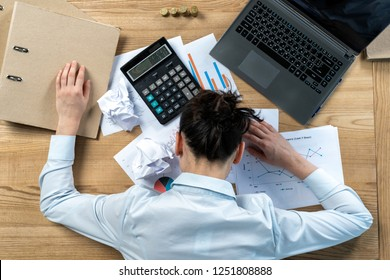 Flat lay high angle above top view calm brunette hair lady in her formalwear she sleep put head on table with work stuff