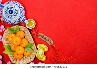 Flat lay image of accessories Chinese new year and Lunar new year festival concept background