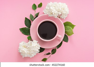flat lay image of coffee cup