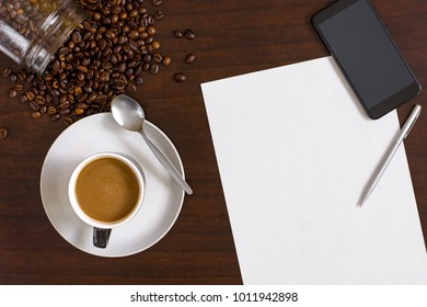 Flat lay image of table top coffee shop scene with copy space for text.