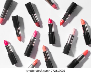 Flat lay of Lipsticks on white background.