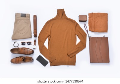flat lay ,men's fashion, casual outfits with accessories on white background