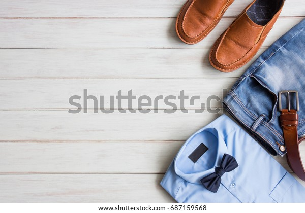Flat Lay Mens Fashion Casual Outfits Stock Photo Edit Now