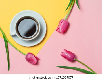 Flat lay of minimalistic picture of coffee and tulips on pink and yellow background. Minimalism coffee concept.
