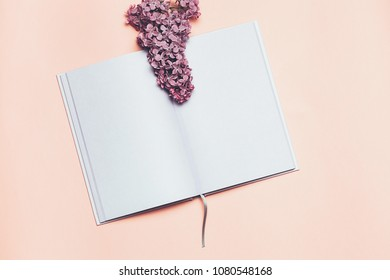 Flat lay and mock up of Notebook and lilac flower. Romantic spring picture. Top view, Place for your text. Copyspace.
