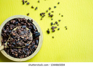 Flat lay on Cacao blow with yellow space top table background : Superfood for healthy lifestyle concept