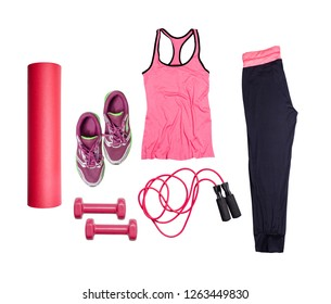 Flat lay on white background of dumbbell, sport t-shirt, jump rope, sneaker, sport equipments, fitness items, top view.