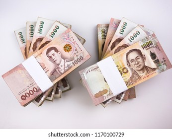 Flat lay over stack of one million Thai baht isolate on white background