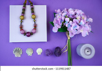 Flat lay overhead mood board layout for ultra violet, color of the year, 2018.