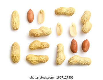 Flat lay of peanuts in nutshell, unpeeled and peeled peanuts isolated on white background. Top view.